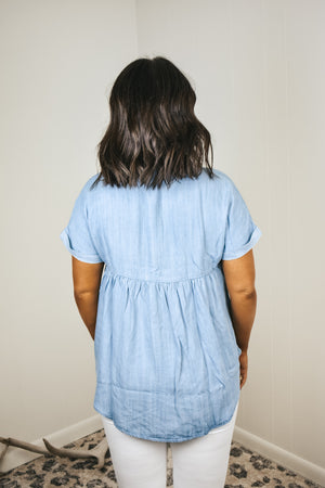 Washed Denim Babydoll Top