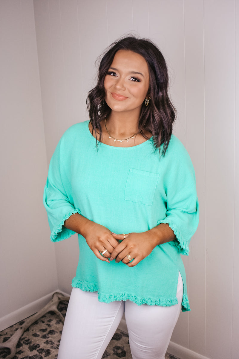 Emerald Linen Pocket Top