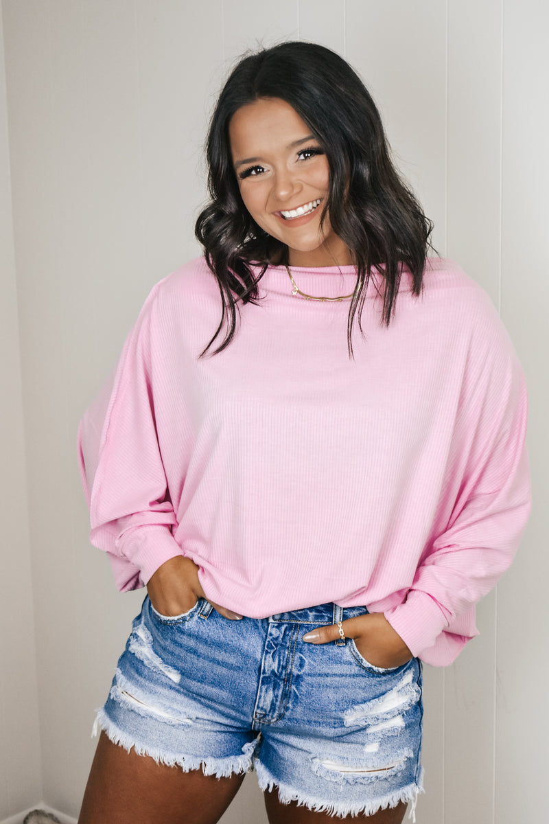 Pink Off Shoulder Dolman Tee