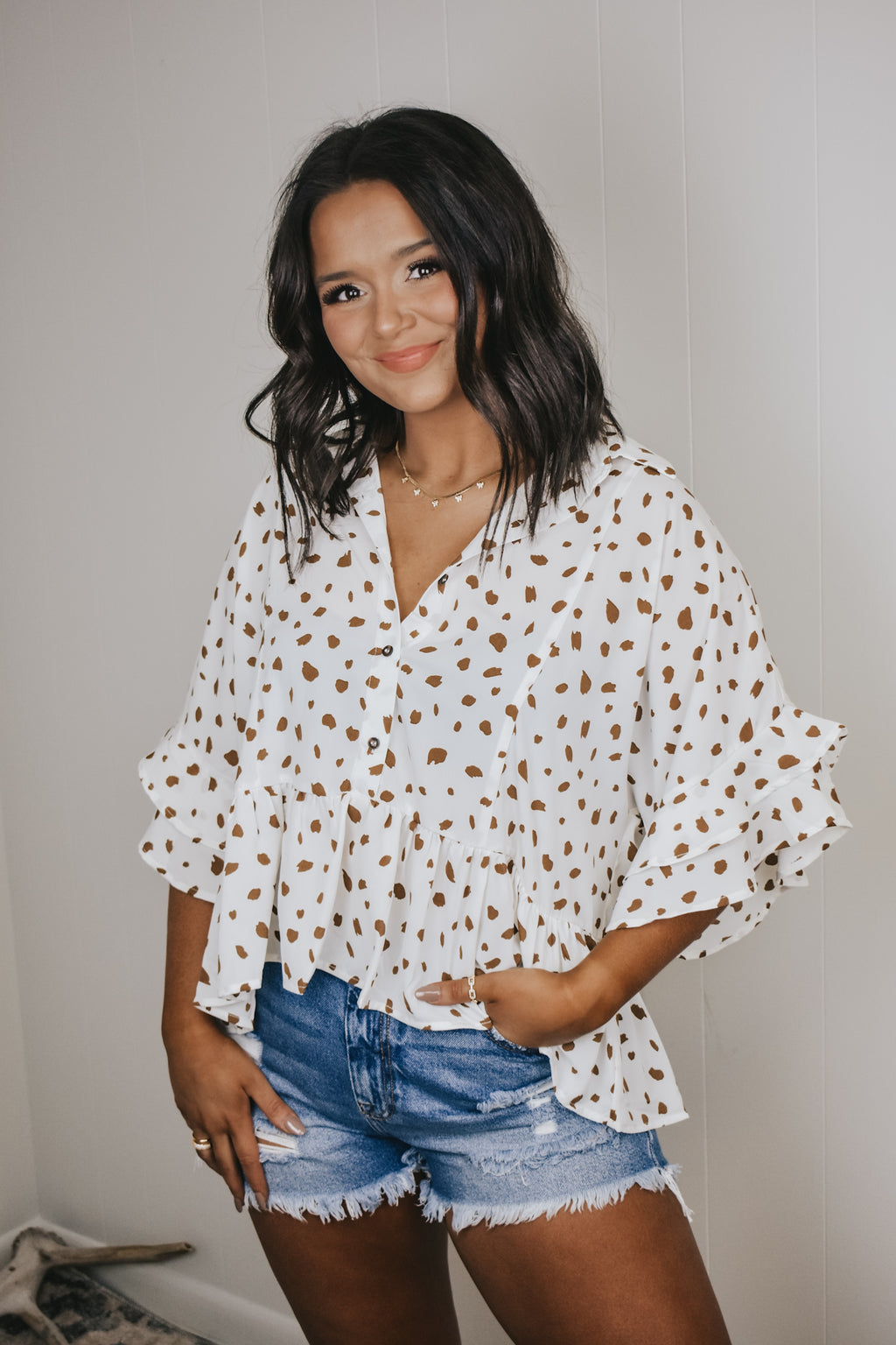 Spotted Babydoll Button Down Top