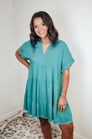 Tiered Linen Collared Dress