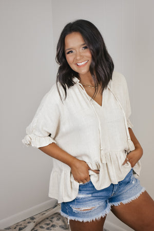 Linen Babydoll Top with Tassel Detail