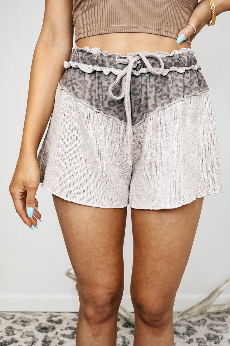 Drawstring Leopard Detail Shorts