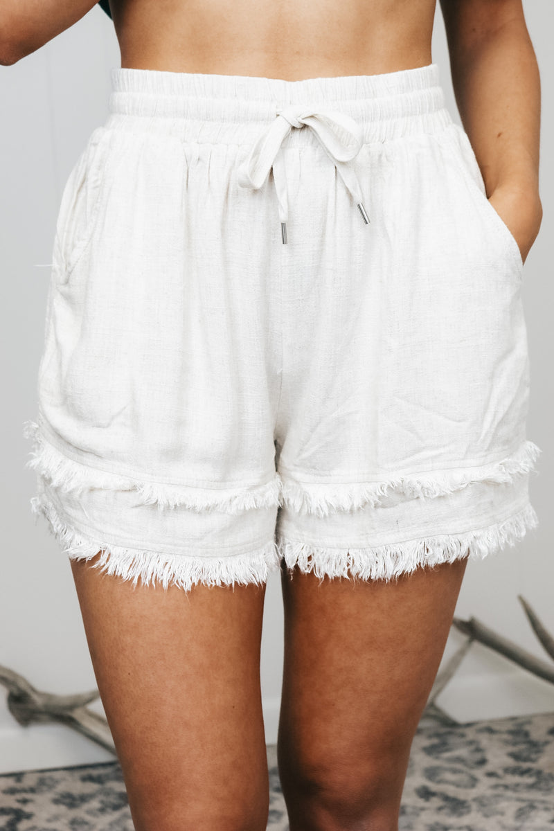 Drawstring Frayed Hem Shorts