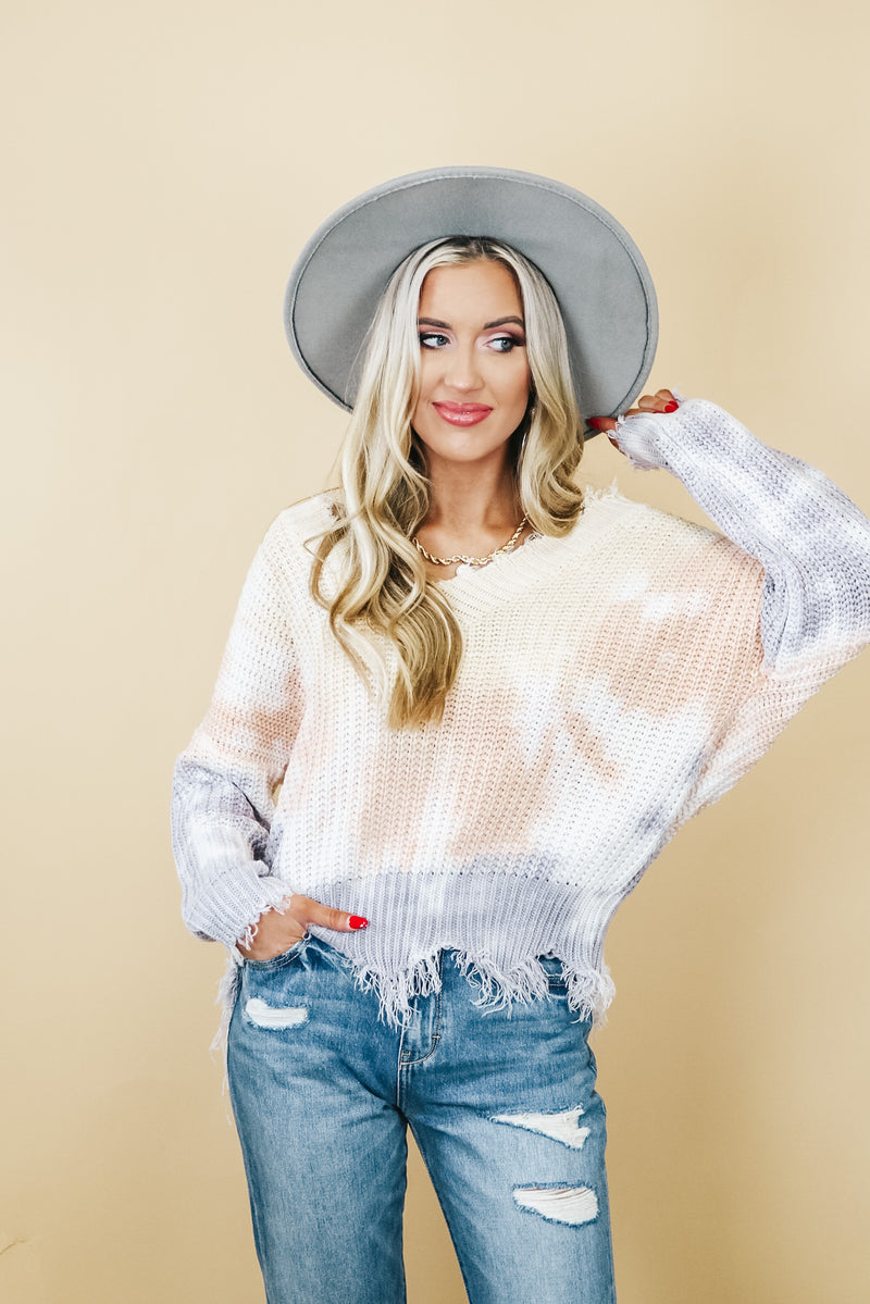 Lilac Mix Distressed Detail Sweater