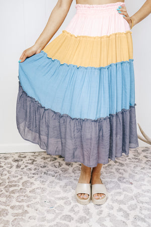 Colorblock Ruffle Detail Skirt