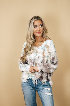Blue Tone Frayed Oversized Tie Dye Sweater
