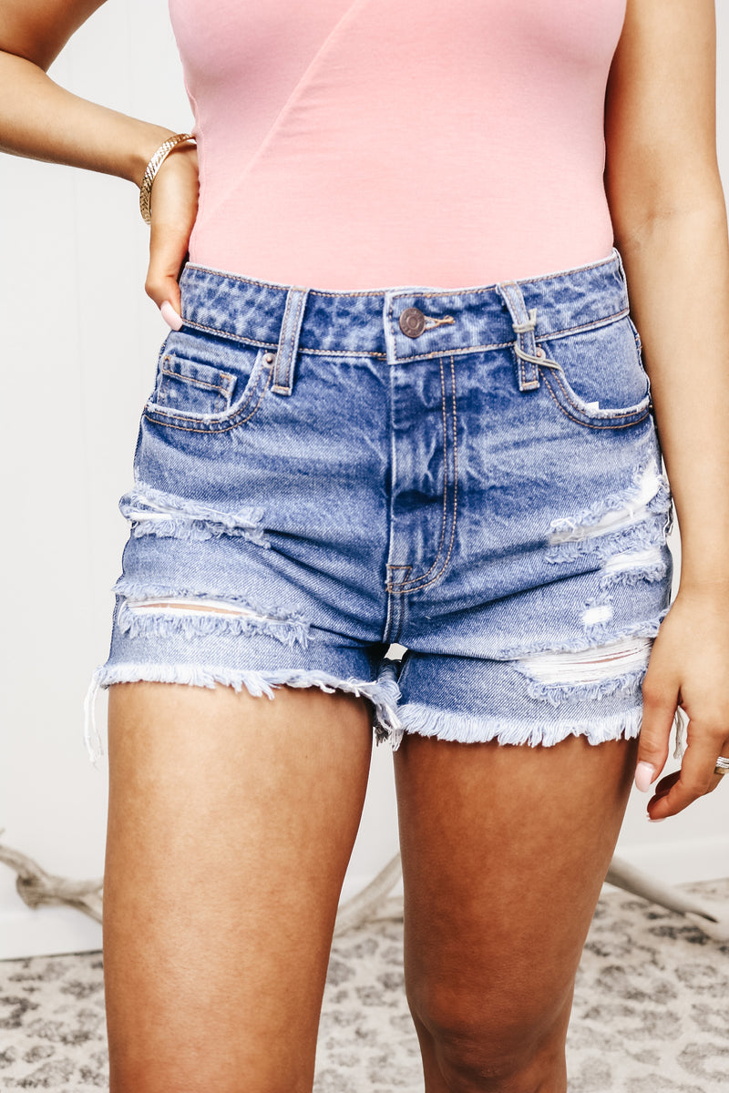 Hidden Denim Dark Wash Distressed Shorts