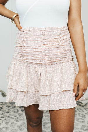 Blush Ruched Ruffle Skirt