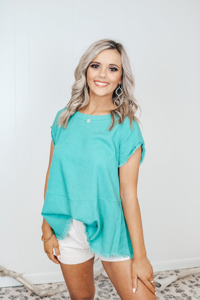 Teal Short Sleeve Linen Top