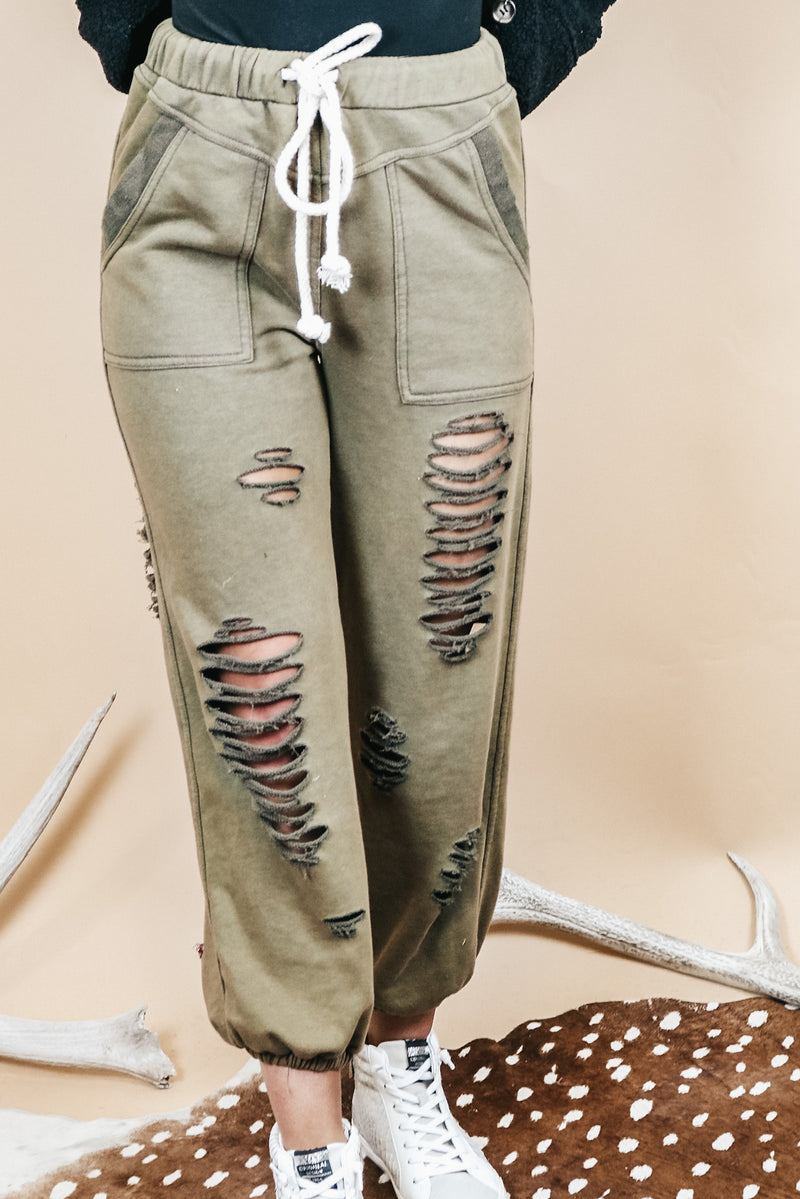 Distressed Jogger In Olive