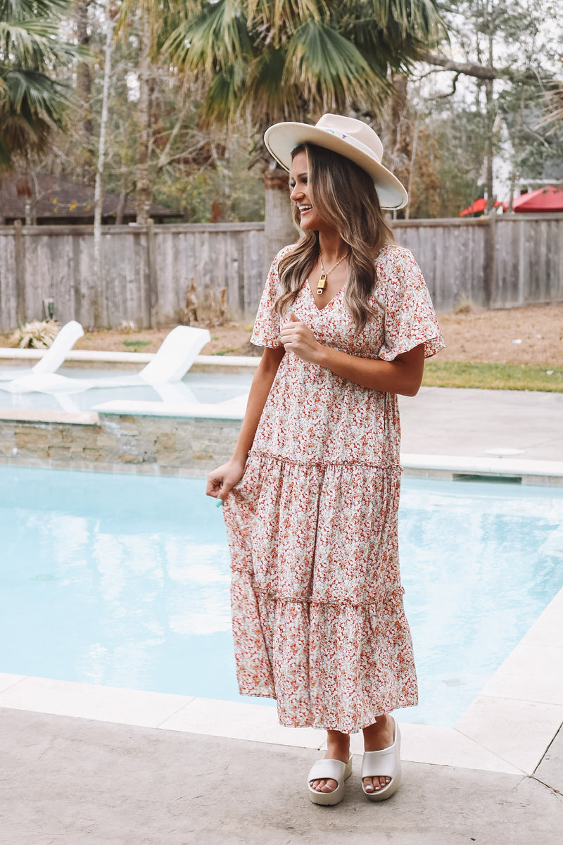 Floral Ruffle Detail Maxi Dress