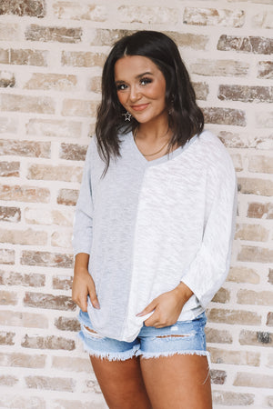 Grey and White Heathered Knit Tee
