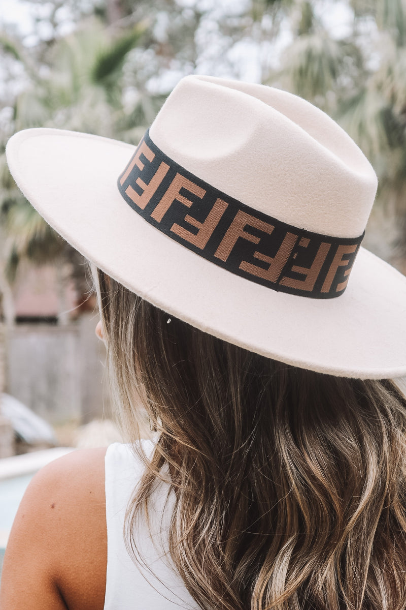 Black and Camel Lettering Hat Band