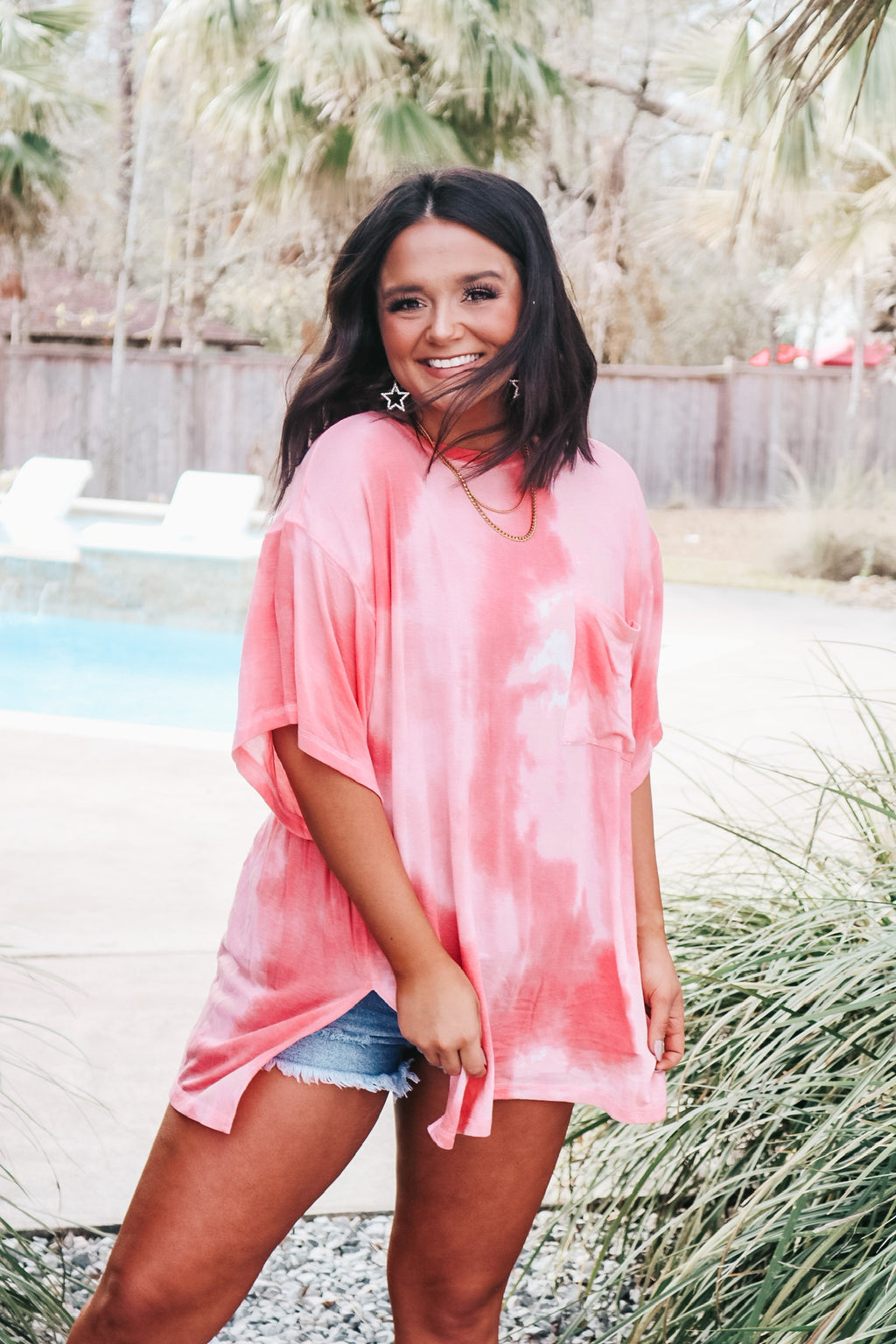 Coral Oversized Tie Dye Tee