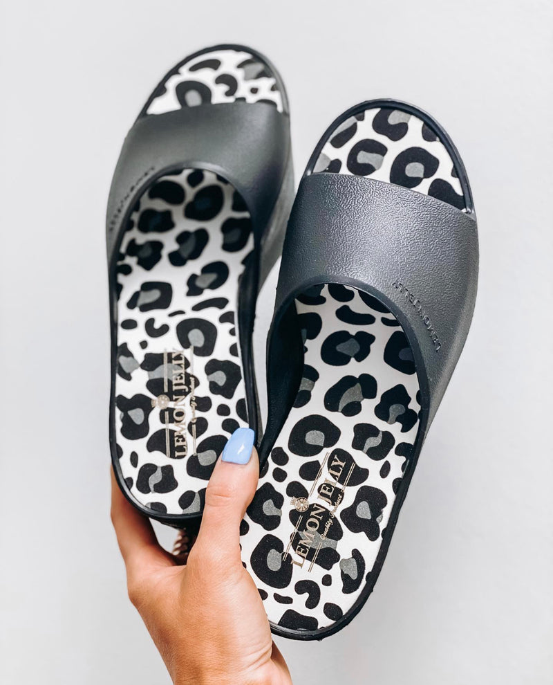 Lemon Jelly Black Leopard Platform Slide