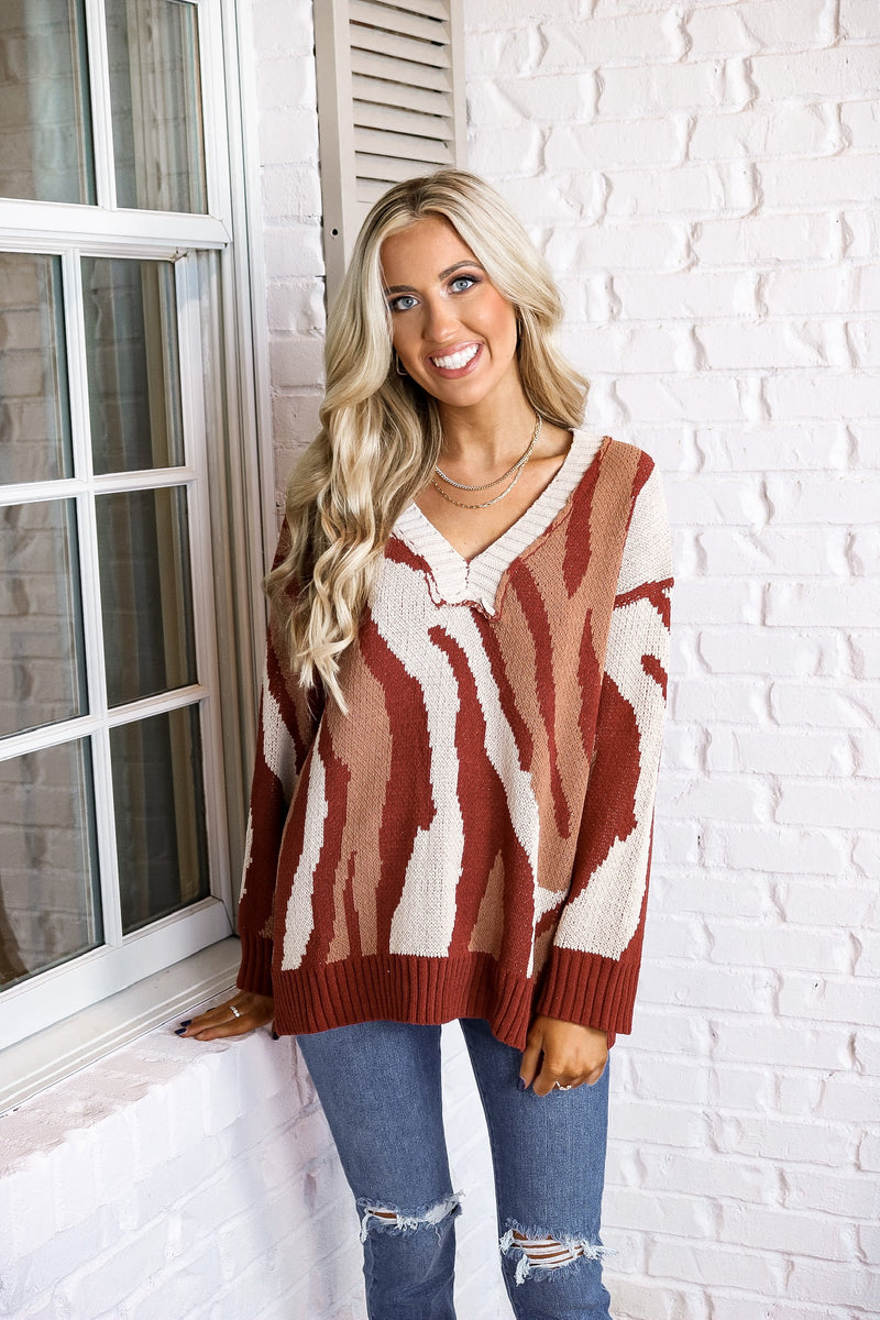 Rust Zebra Chenille Sweater