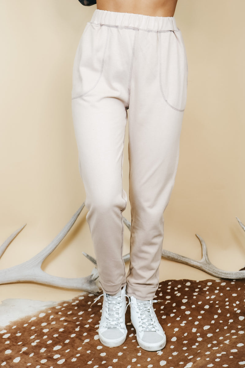 Taupe Contrast Stitching Jogger