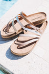 Mixed Metal Strappy Sandal