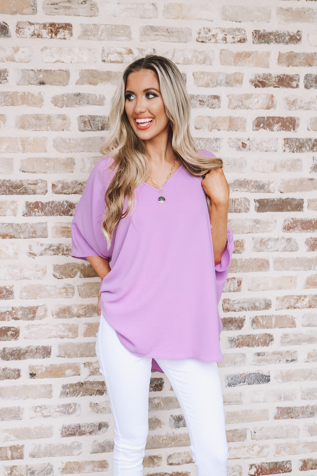 Adrienne Lilac Oversized Blouse