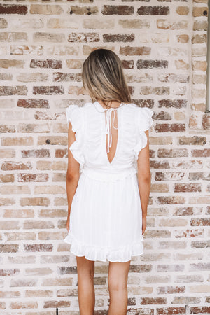 White Ruffle Mini Dress