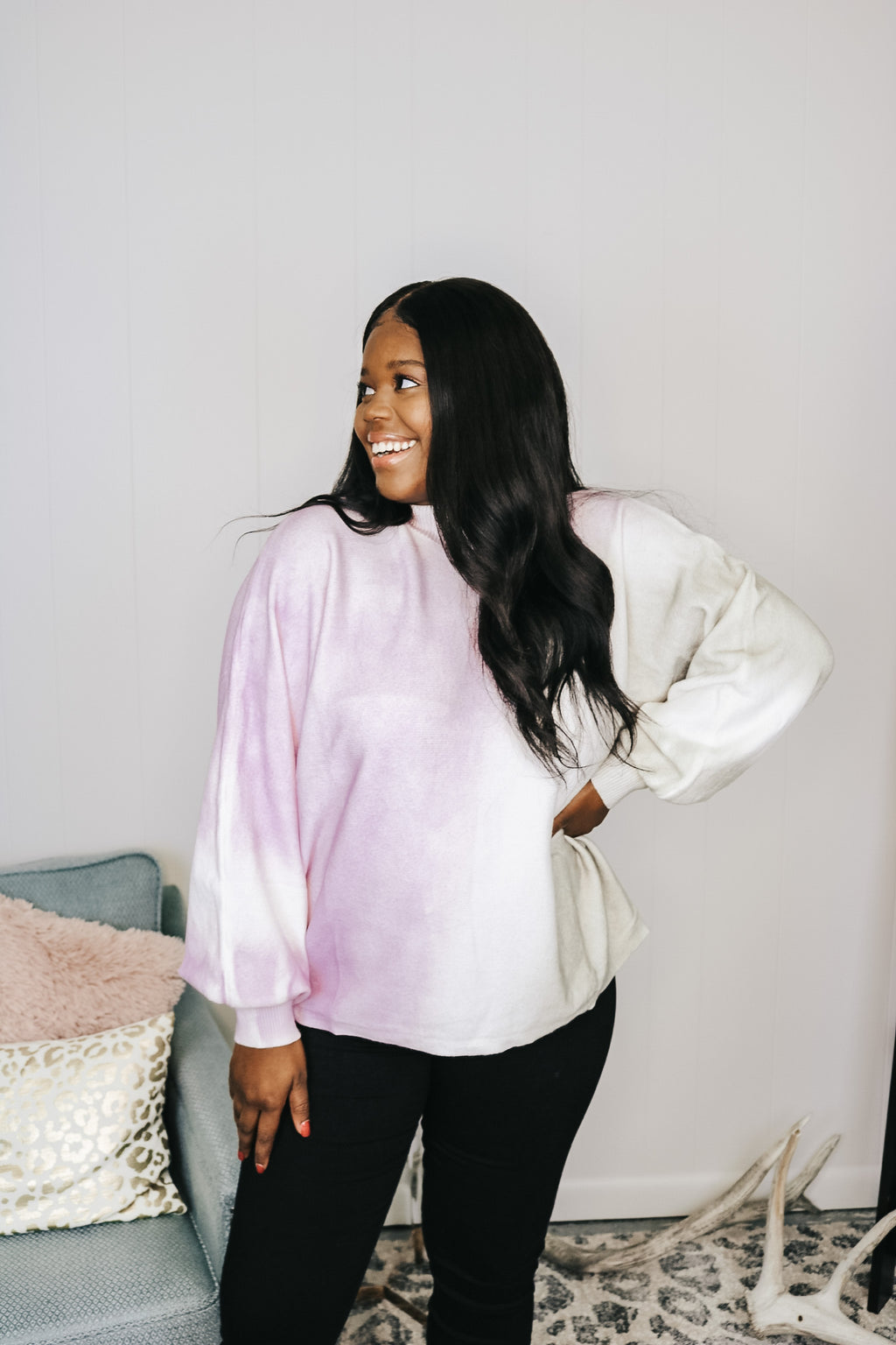 Lilac and Grey Mix Mock Neck Sweater
