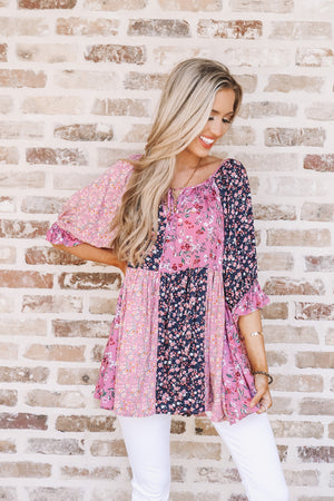Floral Patchwork Babydoll Top