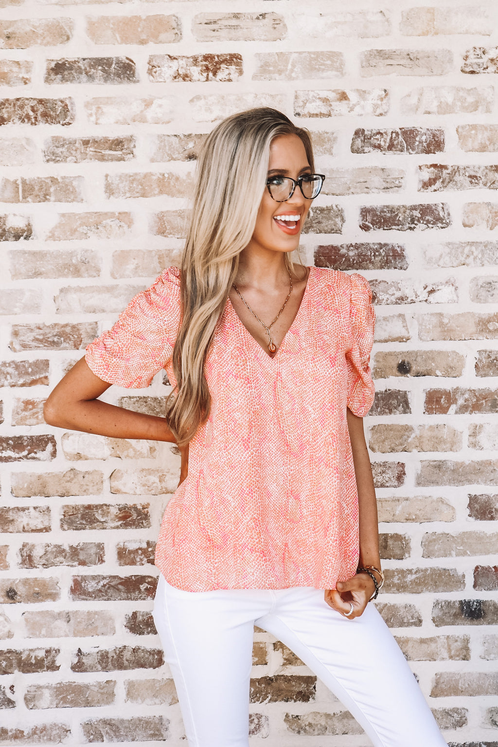 Adrienne Coral Mix Ruched Sleeve Blouse