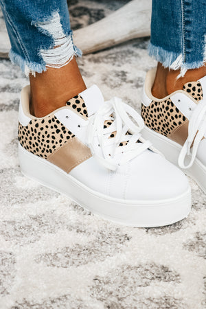 White and Cheetah Platform Sneaker