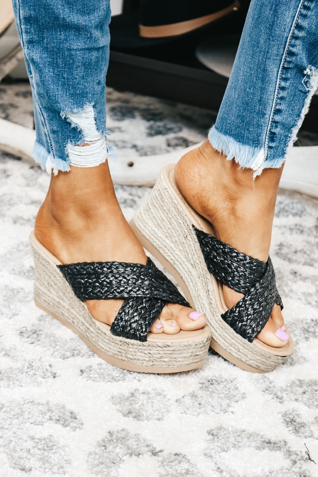 Black Braided Wedge Sandals