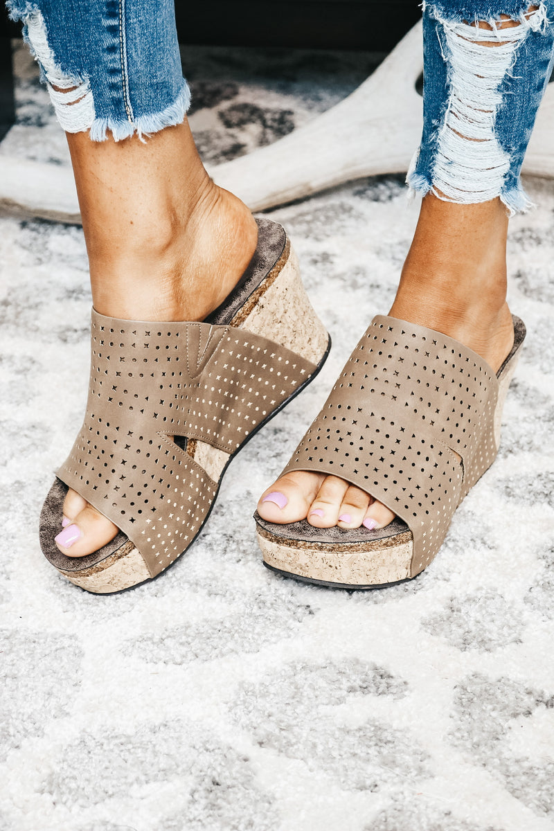 Mocha Perforated Double Strap Wedge