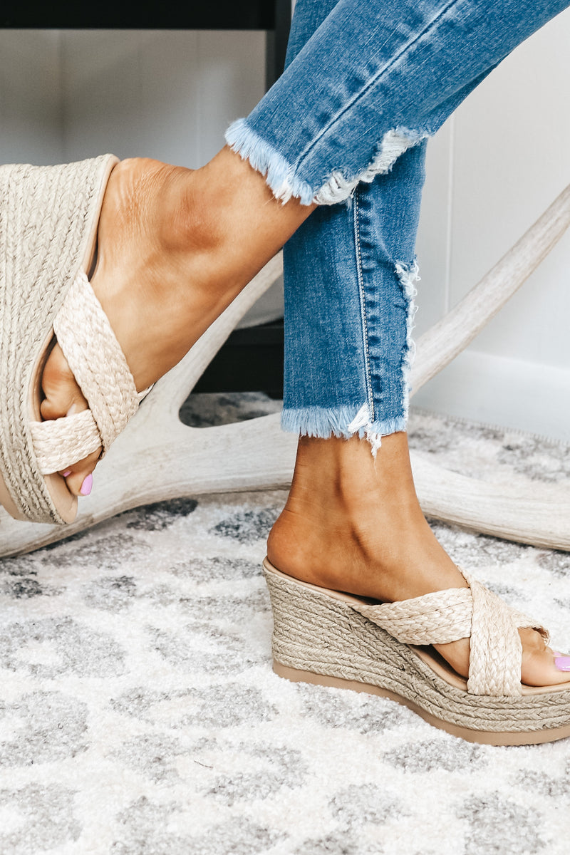 Nude Braided Wedge Sandals