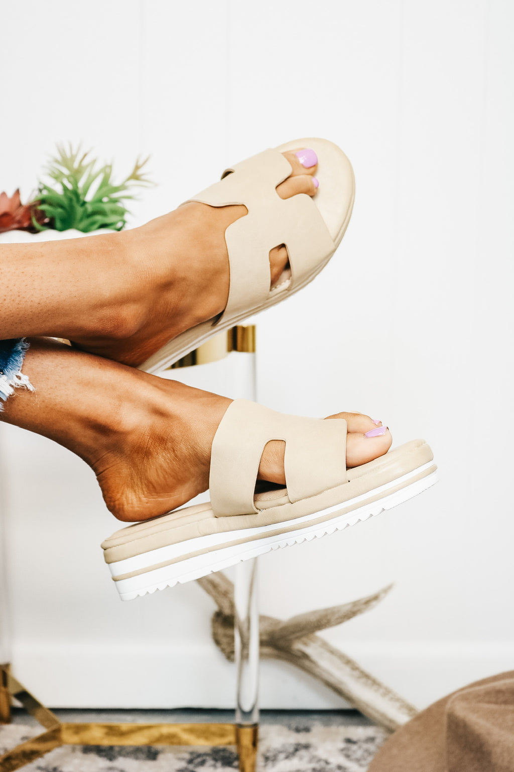 Nude and Ivory Platform Slip On Sandal