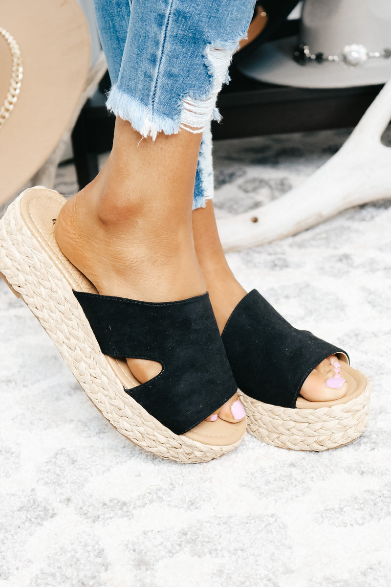 Black and Natural Platform Espadrille