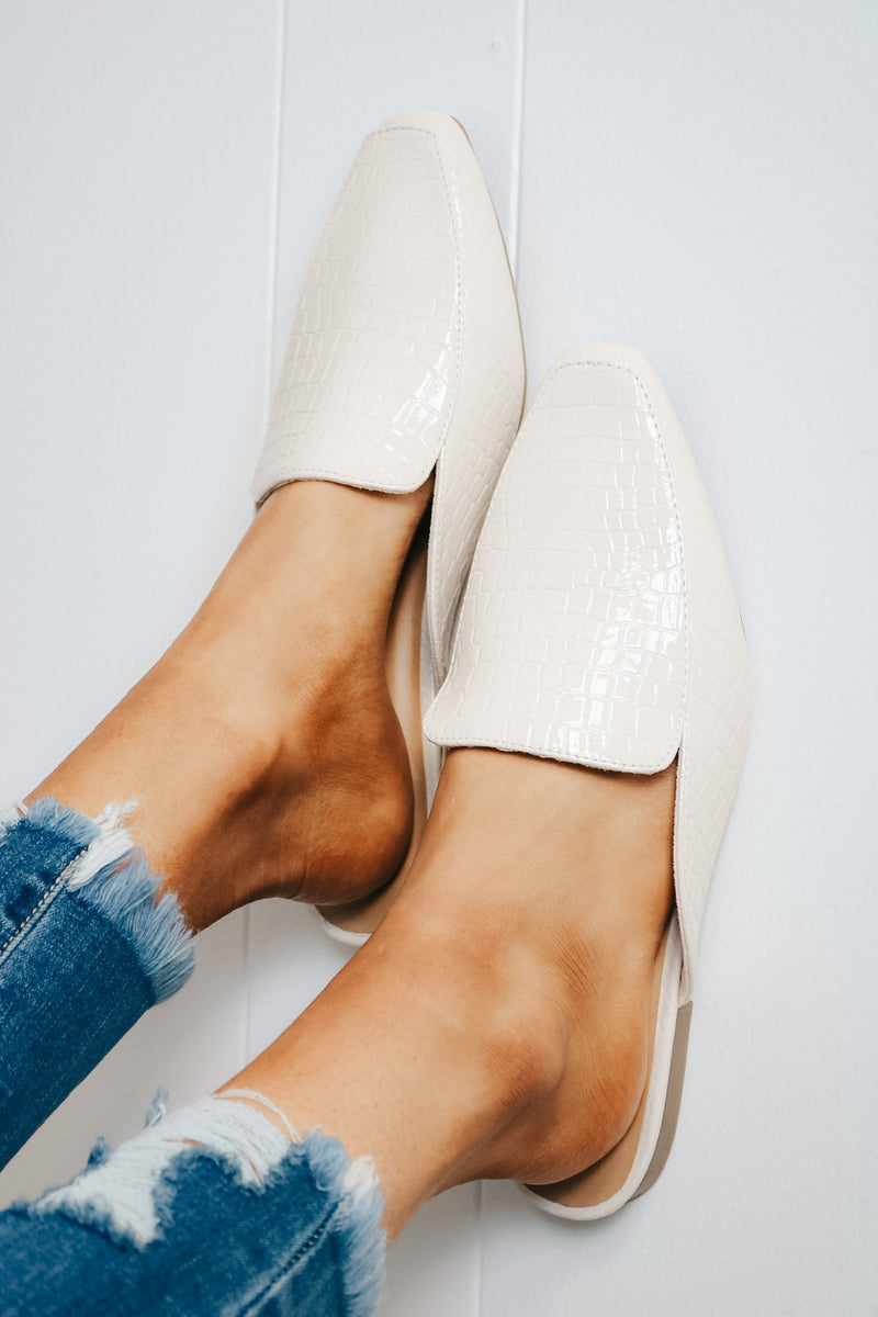 White Croc Slip On Mule
