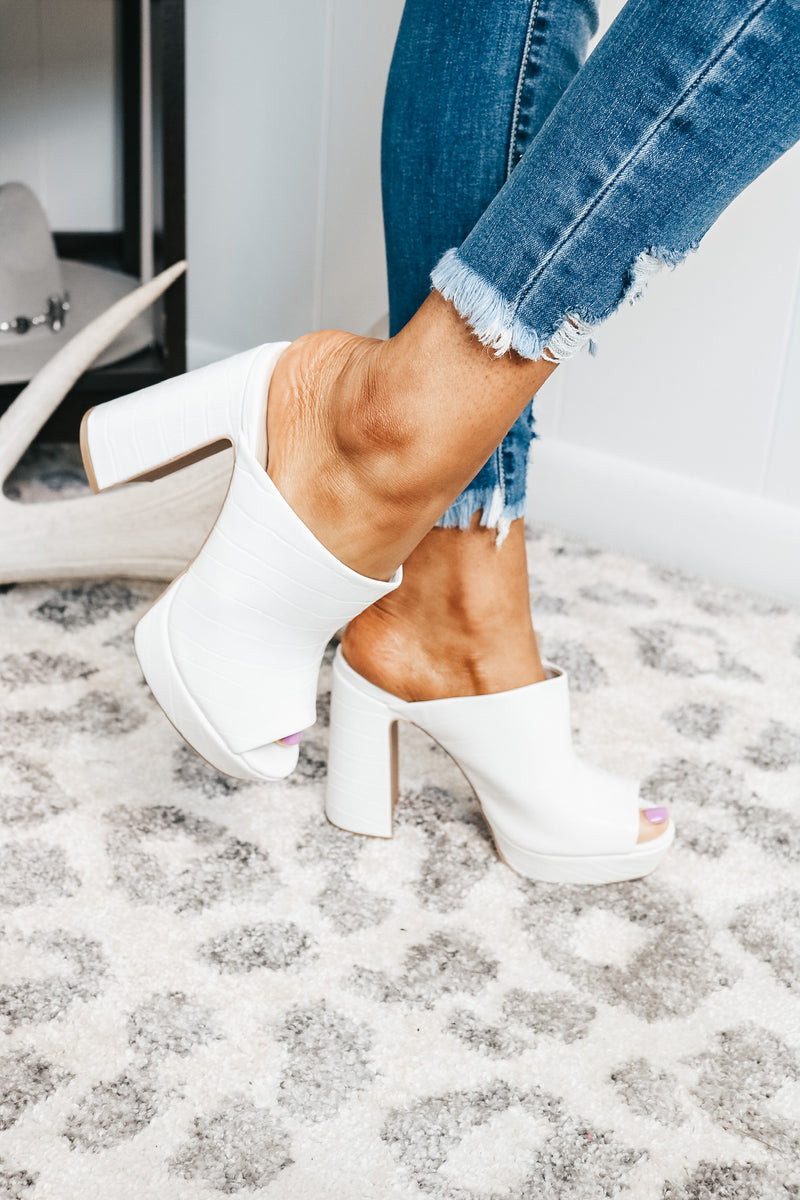 White Croc Block Slip On Heel