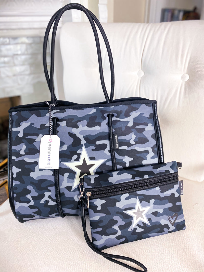 PreneLOVE Black Camo Star Large Tote