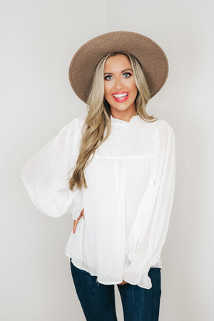 Chiffon Smocked Mock Neck Blouse
