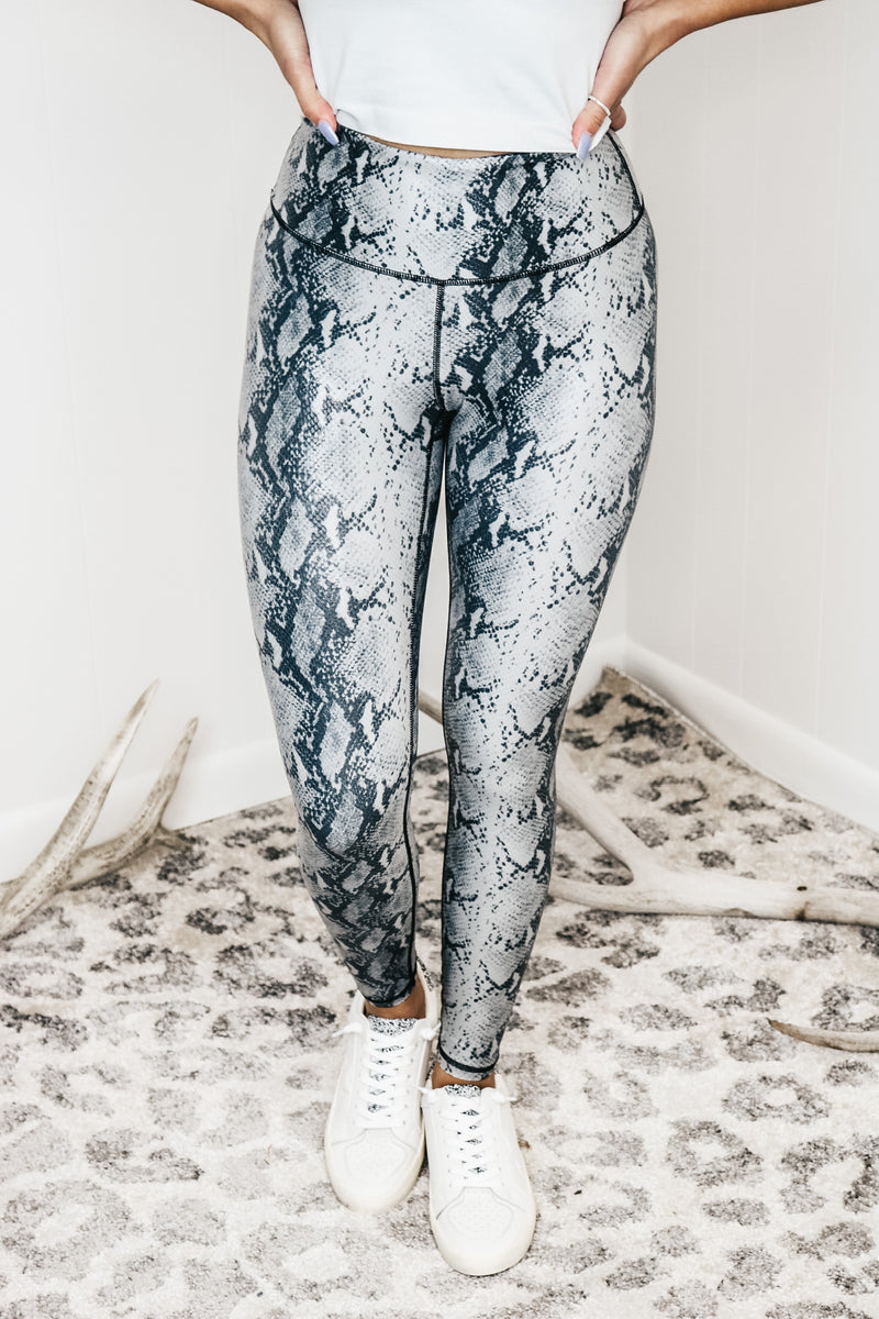 Grey and Black Snakeskin Leggings