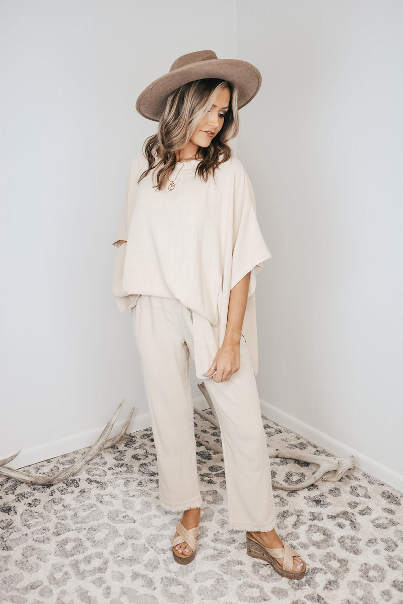 Frayed Wide Leg Pant