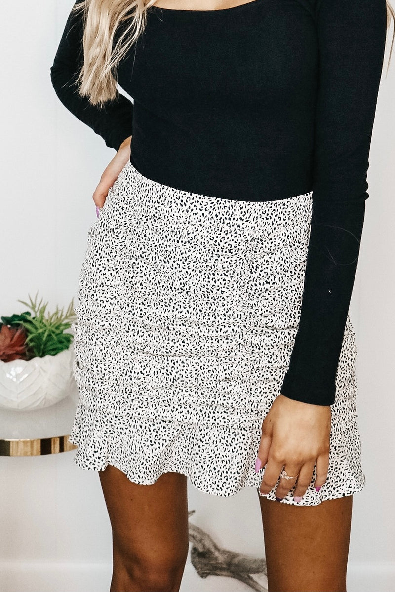 White Spotted Ruched Skirt