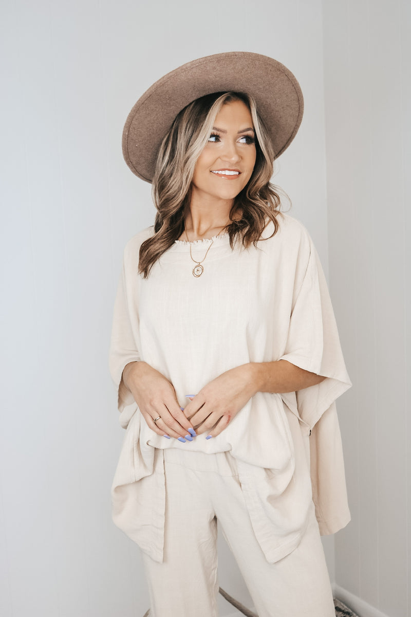 Frayed Detail Poncho Top