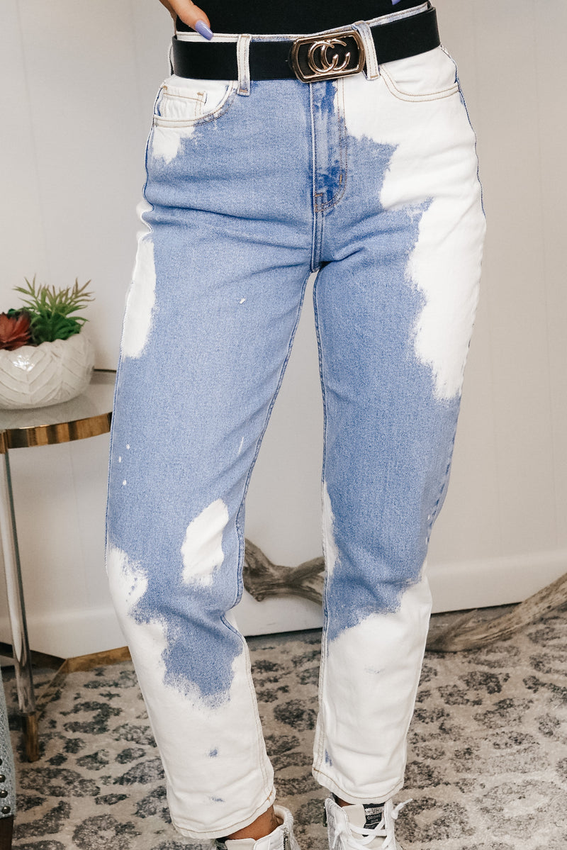 High Rise Bleached Detail Mom Jeans