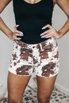 Cow Print Denim Shorts