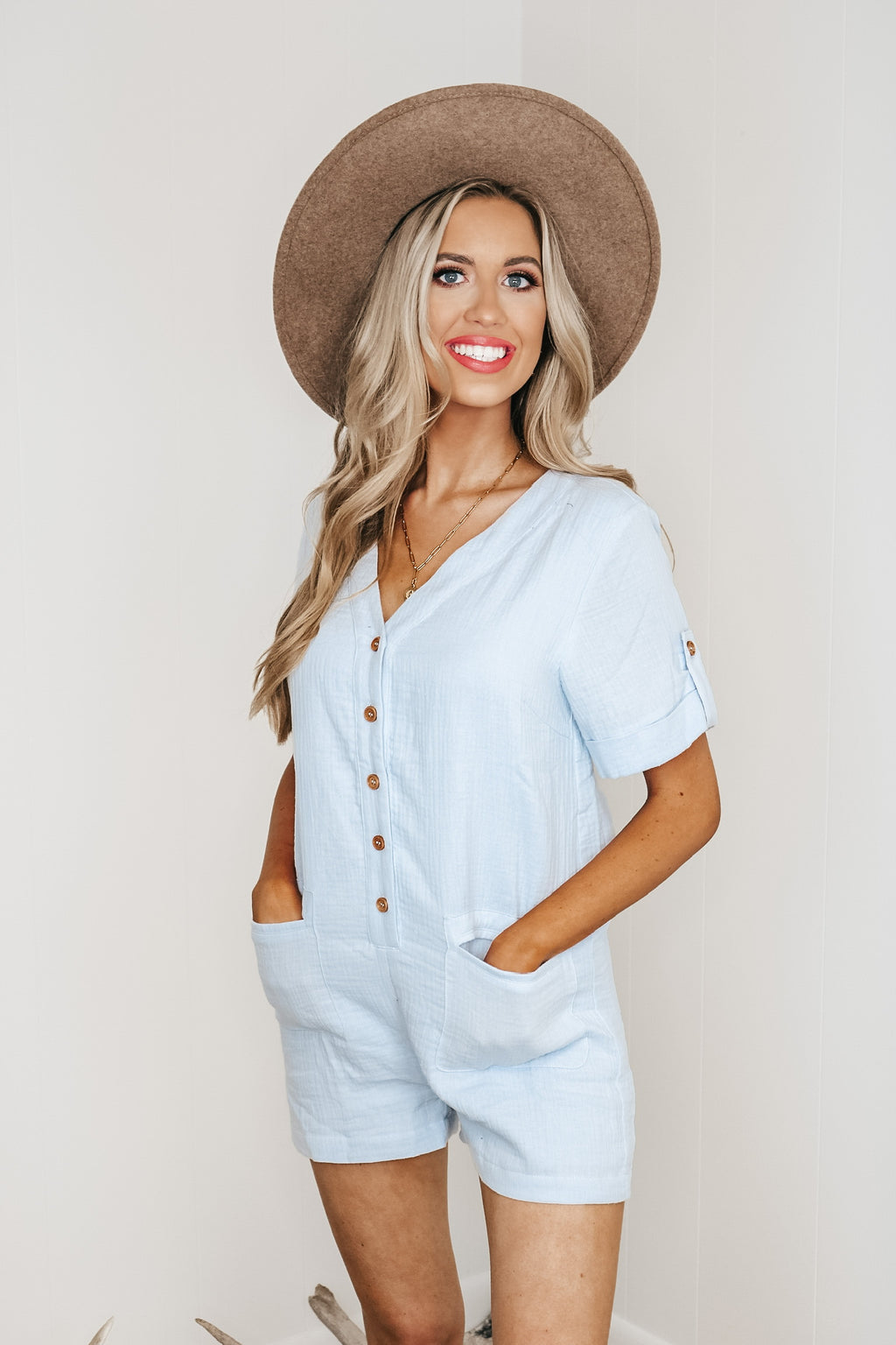 Sky Blue Button Up Romper