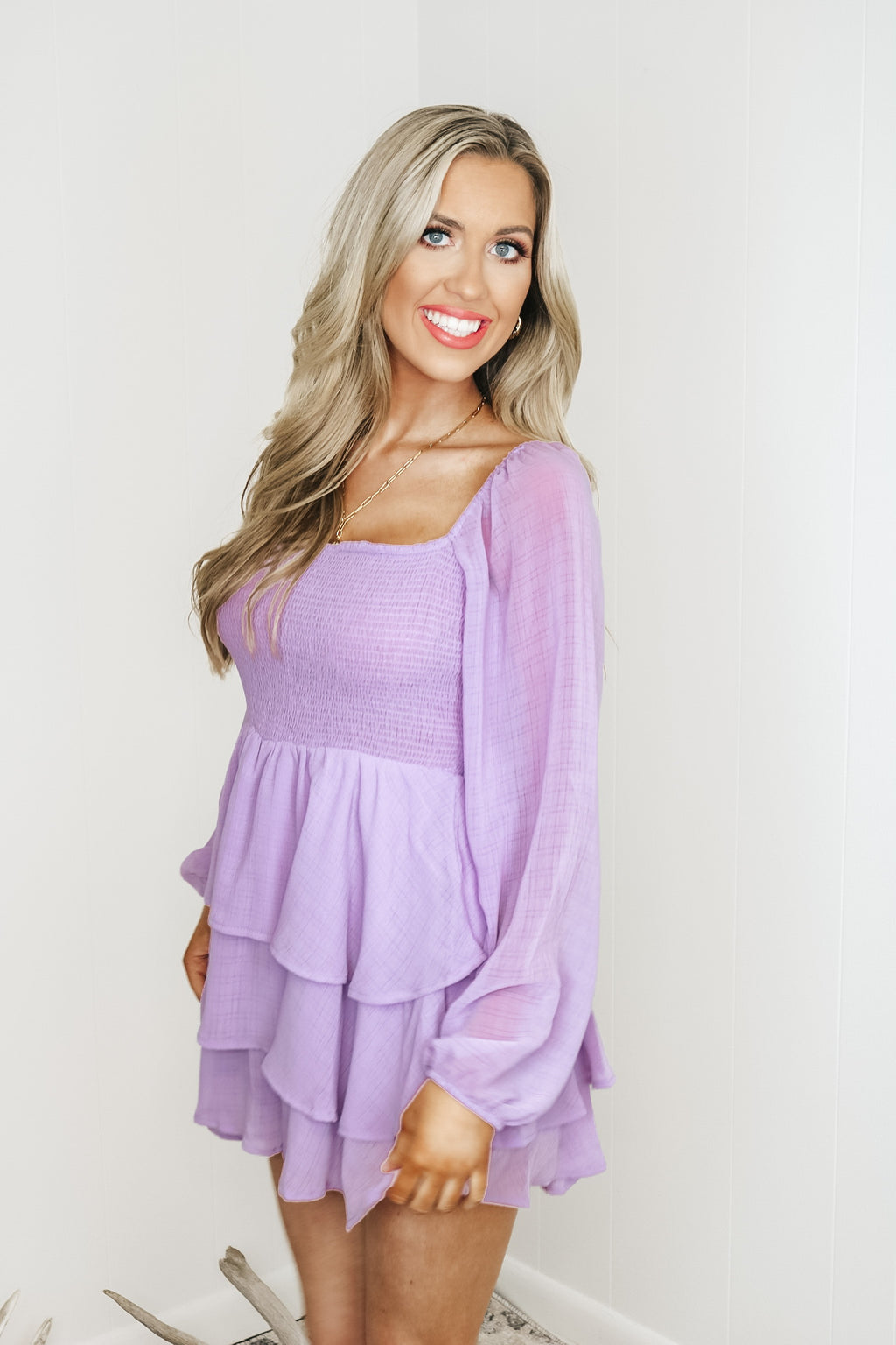 Lilac Smocked Long Sleeve Romper