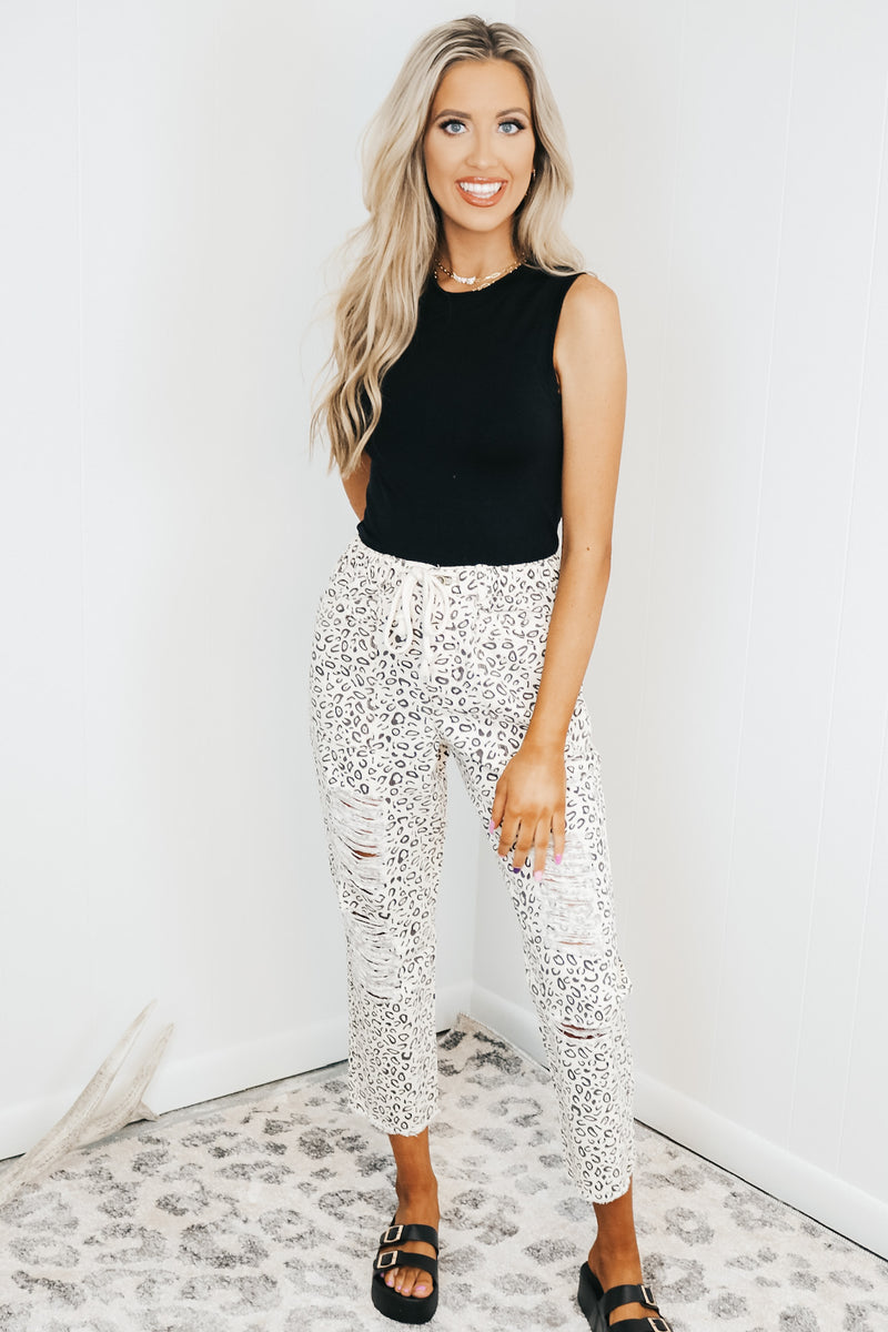 Distressed Leopard Pull On Pants