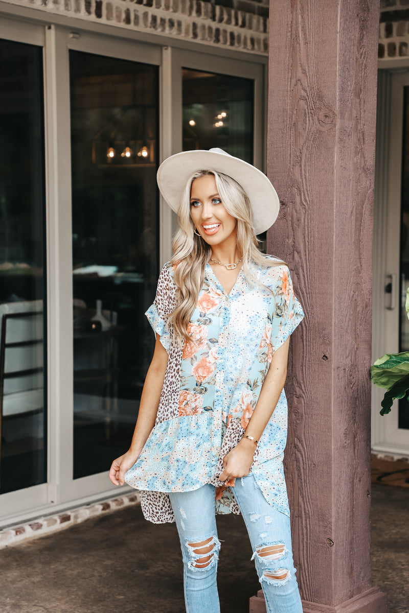 Sheer Mix Printed Button Down Tunic