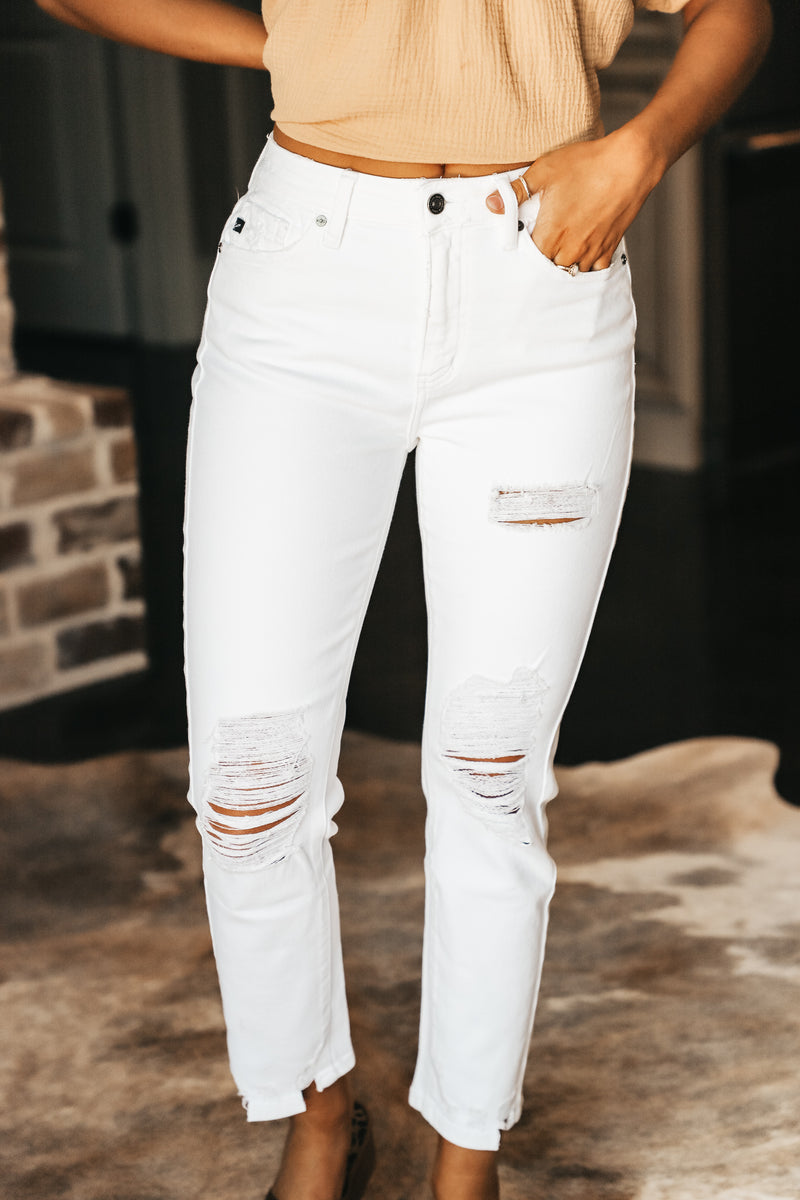 White High Rise Slim Straight