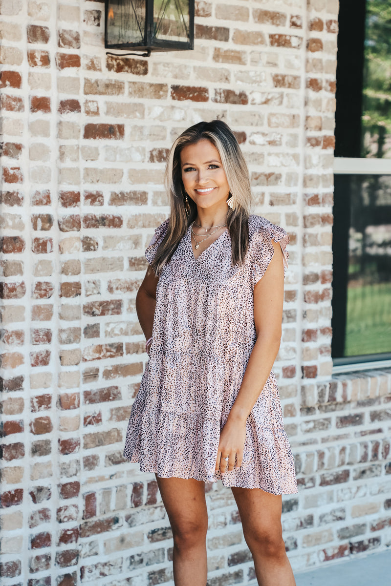 Metallic Leopard Ruffle Sleeve Dress